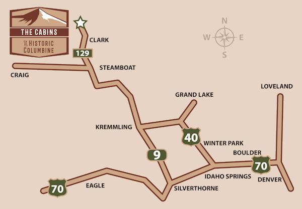 Clark Colorado Map.Location The Cabins At Historic Columbine Colorado